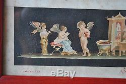 Série de 3 gravures italiennes ancadrées d'époque fin XIXème aux putti