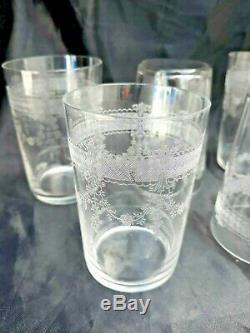Serie de 5 verres cristal gravé d'époque 19ème gobelet crystal XIXème Baccarat