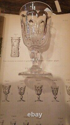 Service de 5 verres a eau en cristal moulé de Baccarat d'époque XIX ème