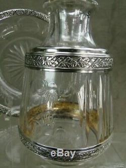 Service de nuit en cristal et argent poinçon minerve époque XIX ème siècle