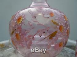 Service liqueur verre émaillé décor fleurs d'époque XIXème