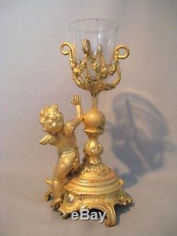 Soliflore / bougeoir avec putti en bronze doré époque XIX ème siècle