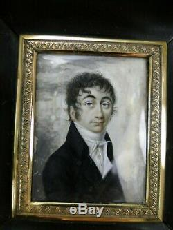 Splendide Miniature Peinture Portrait Homme XIXème Époque Empire Cadre 1810