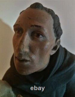 Statue en plâtre Saint Antoine yeux en sulfure signée Raffl Paris époque XIXème