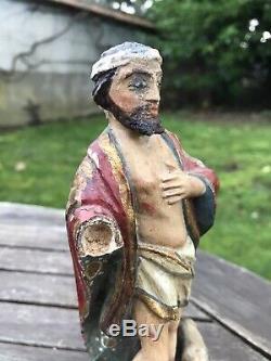 Statuette en bois XVIII/XIX EME saint haute époque christ drapée. Religieux