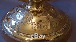 Suite De 4 Bougeoirs En Bronze Doré Au Mercure, Gravés Et Ciselés, époque XIX èm
