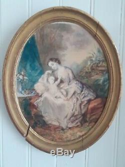 Superbe aquarelle époque fin XIX ème, maternité, scène d'intérieur