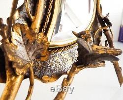 Superbe grand miroir de table, psyché, bronze doré/argenté, époque fin XIX ème