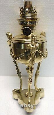 Superbe petite LAMPE à PETROLE époque empire anthropomorphe bronze laiton XIXème