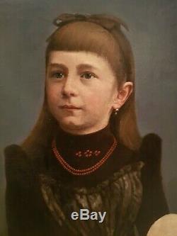 Superbe portait de jeune fille époque fin XIX ème s grande dimension, signé