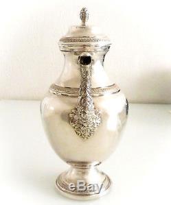 Superbe verseuse en métal argenté d'époque Napoléon III, fin XIX ème