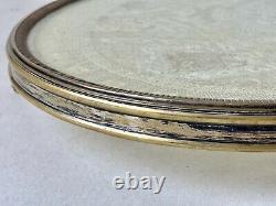 Surtout de Table en Bronze Argenté & Tissu Brodé Dentelle Verre Époque XIX ème