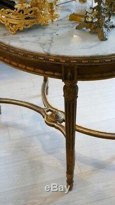 Table De Milieu Louis XVI En Bois Doré Et Marbre Blanc Veiné, époque XIX ème