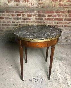 Table bouillotte style Louis XVI à dessus de marbre époque fin XIX eme