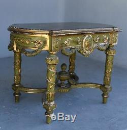 Table d'appoint laquée verte et dorée époque XIXème
