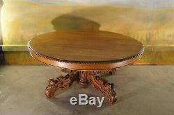 Table ovale basse époque XIX ème siècle en chêne massif
