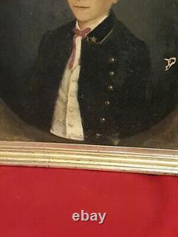 Tableau Ancien, portrait d'enfant époque XIX ème s, cadre doré, signée et datée