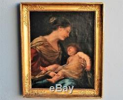 Tableau Vierge à l' enfant, époque XIXème