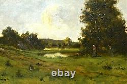 Tableau ancien paysage animé signé école Française Barbizon époque XIXème