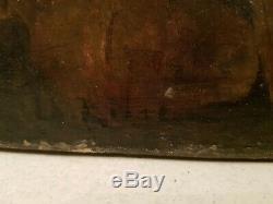 Tableau ancien, scène d'intérieur, époque XIX ème s, signé à déchiffrer, hst
