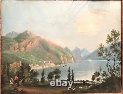Tableau gouache paysage au lac époque XIXème siècle