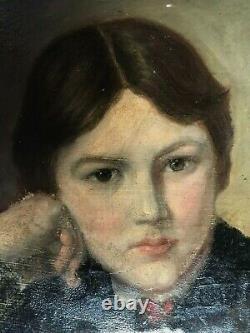 Tableau, portrait de jeune fille, cadre de TEPLITZ, époque XIX ème