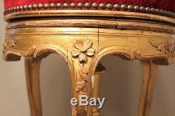 Tabouret de piano style Louis XV bois doré époque XIX ème siècle