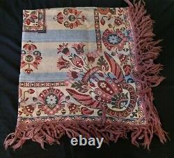 Tapis de table frangé main tapisserie époque XIXème
