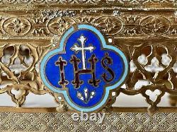 Thabor Lutrin Pupitre dAutel Laiton Doré Église Strass Émaux IHS Époque XIXème
