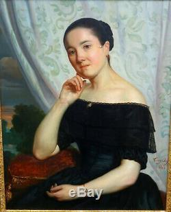 Tony Dury Portrait de Jeune Femme Epoque Louis Philippe HST XIXème siècle 1845