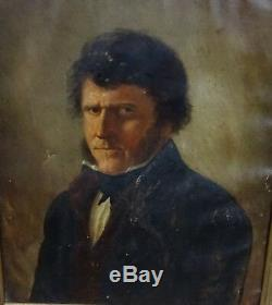 Toussaint Pillet Portrait d'homme Epoque XIXème siècle huile Vendée
