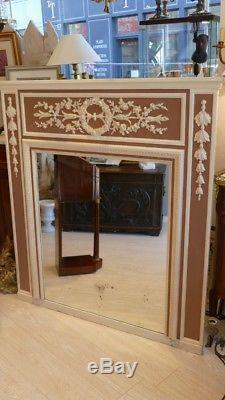 Trumeau, Miroir De Cheminée De Style Louis XVI En Bois Peint, époque Fin XIX ème