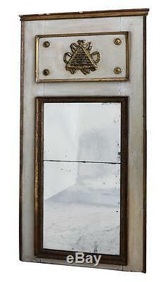 Trumeau d'époque Empire en bois laqué et doré XIXème