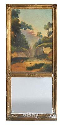 Trumeau d'époque XIXème peinture XVIIème à décor de paysage