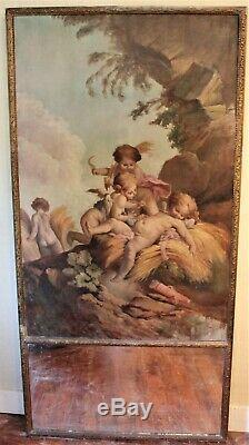 Trumeau époque XIX ème siècle scène avec anges, amours et Cupidon