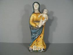 VIERGE A L'ENFANT ANCIENNE EN FAÏENCE / VIERGE A L ENFANT EPOQUE XIXème SIÈCLE