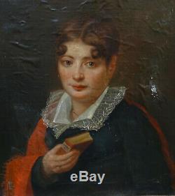 Valentini Portrait de Femme Epoque Ier Empire Huile sur Papier Marouflé XIXème