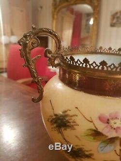 Vase, cache pot en opaline, époque fin XIX ème s, monture bronze