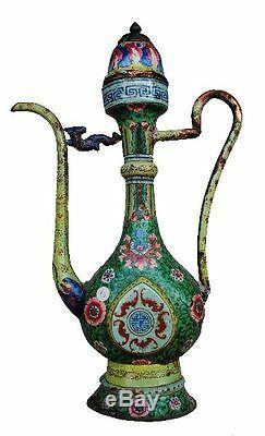 Verseuse chinoise cuivre émaillé époque XIXème