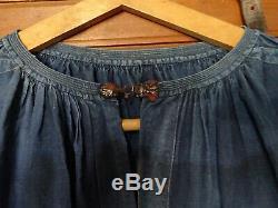 Vêtement ancien biaude ou blaude de maquignon époque XIXéme lin bleu