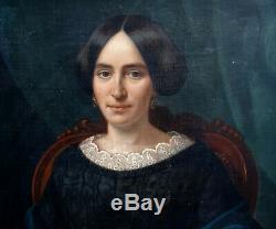 Victor Favier Portrait de Femme d'Epoque Louis Philippe HST du XIXème siècle